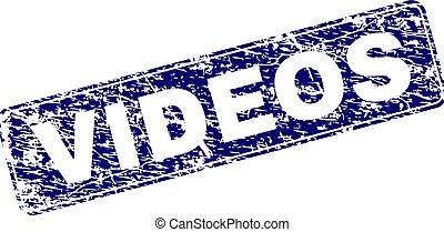 Grunge VIDEOS Framed Rounded Rectangle Stamp