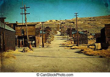 grunge, viejo, pueblo fantasma, los e.e.u.u. occidentales
