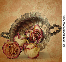 grunge, viejo, rosas, en, plata, florero, en, vendimia, papel, plano de fondo