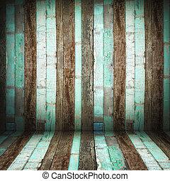 grunge, vieux, perspective, mur bois, salle