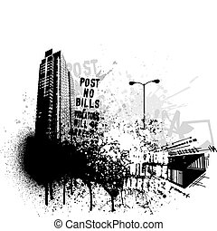 grunge, ville, conception