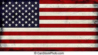 grunge, vindima, bandeira eua, fundo, textured