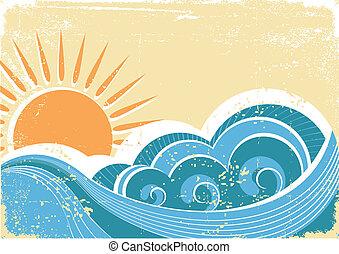 grunge, vinhøst, illustration, vektor, waves., hav, landskab
