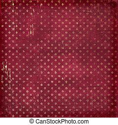 Grunge vinous background with gold circles. Vintage textile