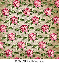 Grunge vintage background with flowers for design