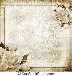 grunge, vintage background with roses