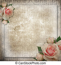 grunge, vintage background with roses