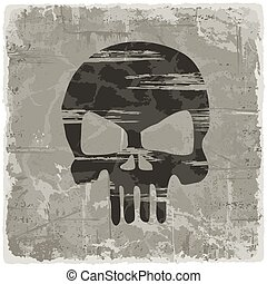 Grunge vintage background with skull.
