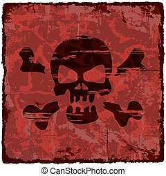 Grunge vintage background with skull. Vector illustration.