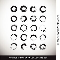 Grunge vintage circle logo elements set