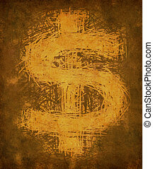 Grunge vintage dollar sign representing the concept of...