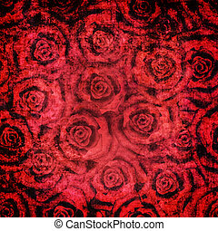 Grunge vintage floral red roses pattern background