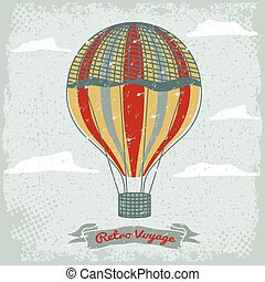 grunge vintage hot air balloon in the sky with clouds
