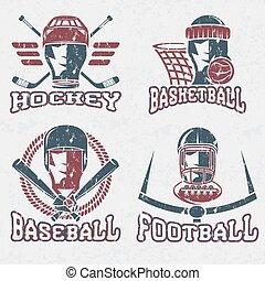 grunge vintage sport vector labels set