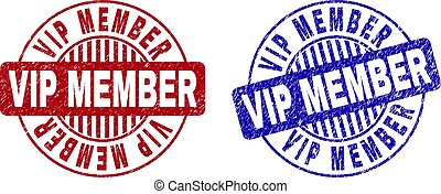 Grunge VIP MEMBER Scratched Round Stamps