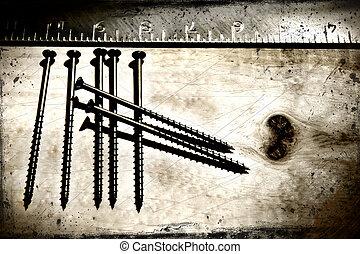grunge, visitekaartje, meetlatje, background/, ideaal, hout, concepten, schroeven, bouwsector, etc...