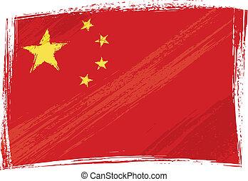 grunge, vlag, china
