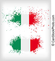 grunge, vlag, italiaanse , splattered, inkt