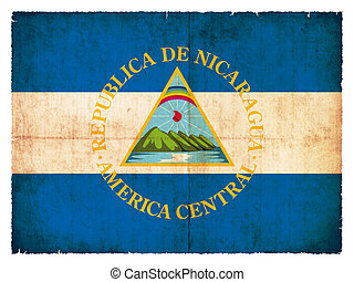 grunge, vlag, nicaragua