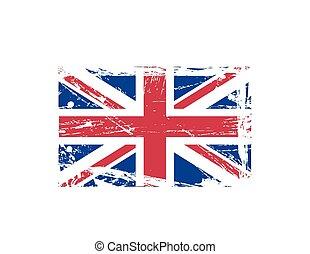 grunge, vlag, splattered, brits, inkt
