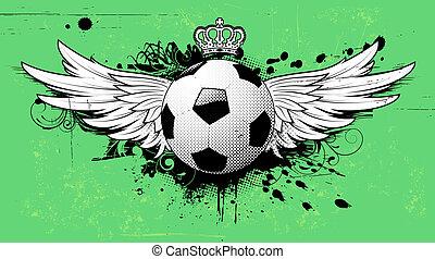 grunge, voetbal, embleem