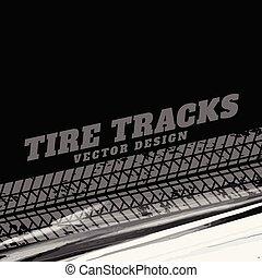 grunge, voie pneu, arrière-plan noir, marques