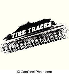 grunge, voie pneu, arrière-plan noir, marques, impression