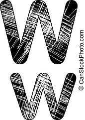 grunge, w, rasguño, símbolo, diseño, white., carta, alfabeto