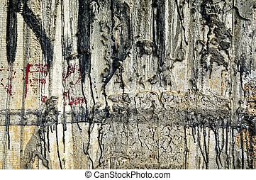 Grunge wall - Abstract of a rough concrete wall and paint