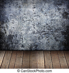 grunge wall and old wood background.