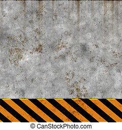 grunge wall and warning stripes