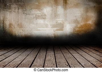 Grunge wall and wood paneled floor backdrop design