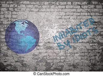 Grunge wall idiots - Grunge decayed faded brick wall ...
