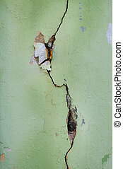 The background of grunge wall with crevice
