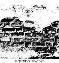 grunge wall, vector - grunge wall, halftone effect, vector ...