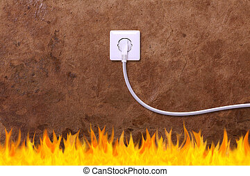 grunge wall with an electrical outlet and fire