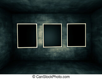 grunge wall with frames.