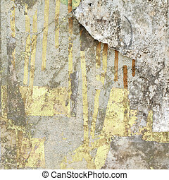 Grunge Wall with Peeled Paper Textured Background