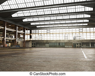 grunge, wareho, grande, interior, encuadrado