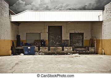 Grunge Warehouse Entrances - Three Warehouse Gates. Each...