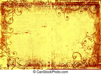 grunge warm frame with scrolls and stone texture for photo editing