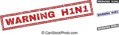 Grunge WARNING H1N1 Textured Rectangle Stamp Seals