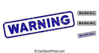 Grunge Warning Rectangular Stamp Seals