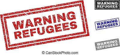 Grunge WARNING REFUGEES Textured Rectangle Stamp Seals