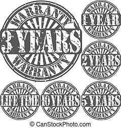 Grunge warranty rubber stamp set, v