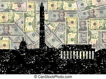 Grunge Washington DC skyline with dollars