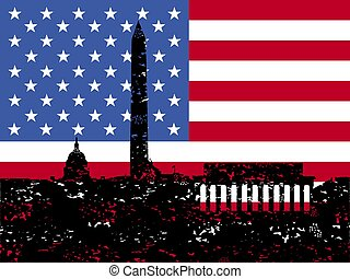 Grunge Washington DC skyline with flag