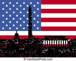 Grunge Washington DC skyline with flag
