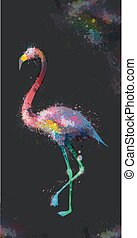 Grunge watercolor splashes flamingo illustration