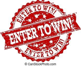 grunge, watermark, postzegel, binnengaan, zeehondje, win!, rood